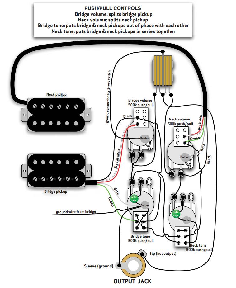 Схема распайки звукоснимателей Джимми Пейджа.