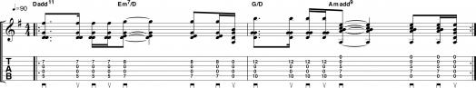 Открытые аккорды в середине грифа