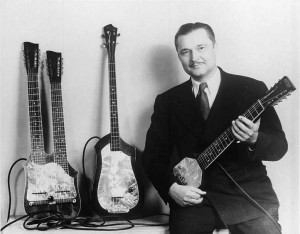 Paul Tutmarc with a No. 736 Bass (center), ca. 1937